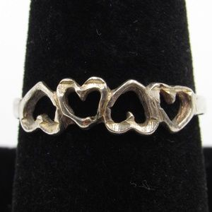 Size 8.75 Sterling Silver Rustic Hearts Band Ring